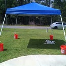 Quick and easy EasyUp portable tent anchoring