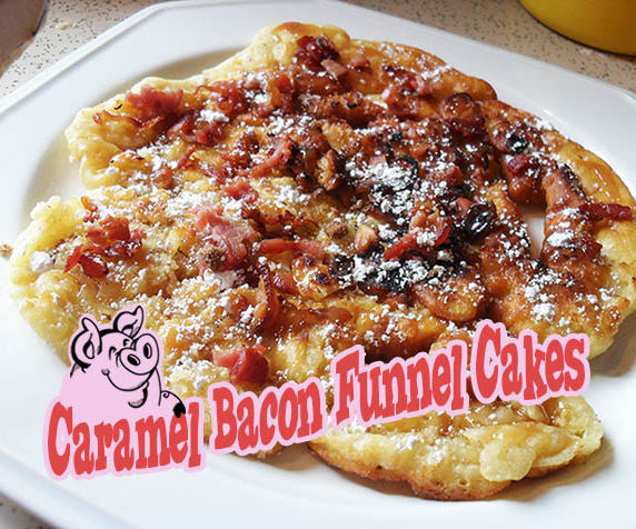 Caramel Bacon Funnel Cakes