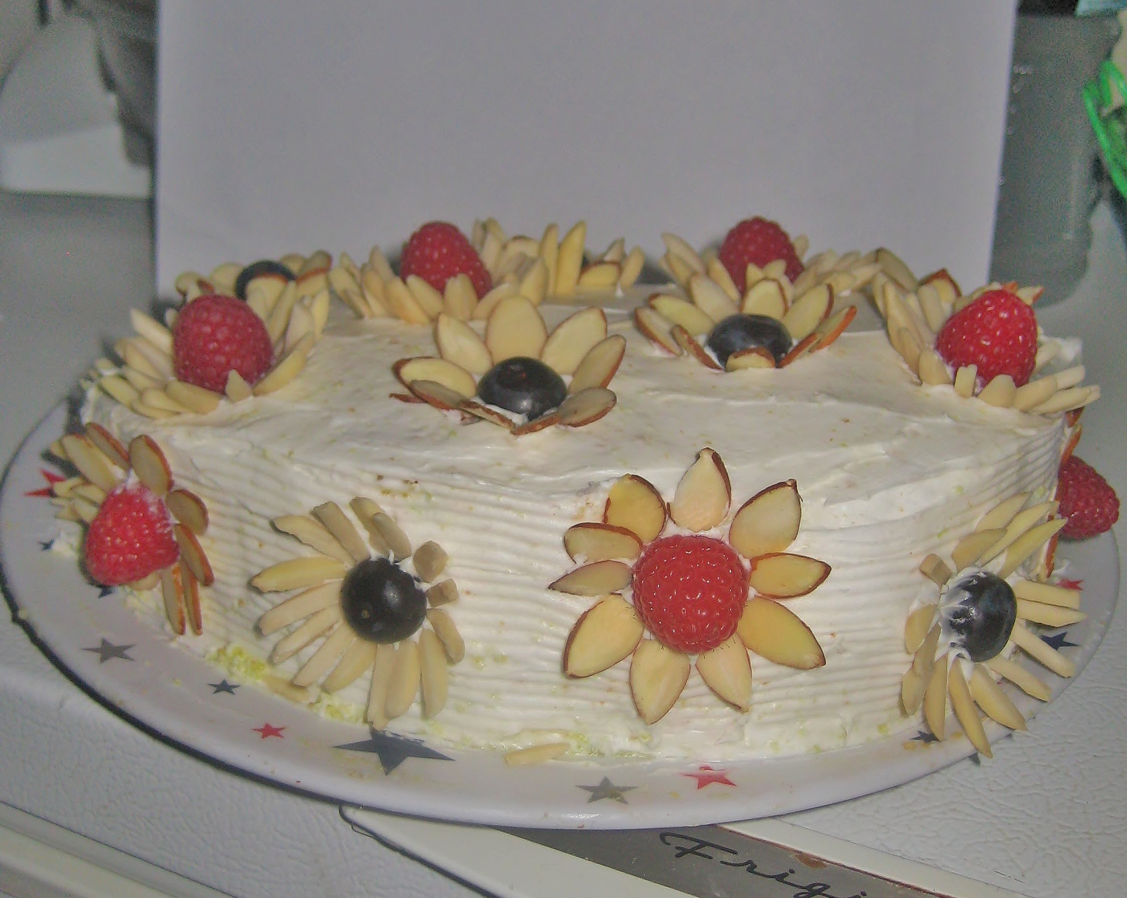 Lemon Lime Cake with Berry Almond Flowers