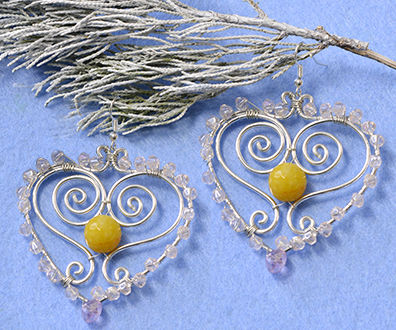 How to Make Wire Wrapped Heart Earrings With Glass Beads and Jade Beads
