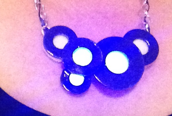 LED Statement Necklace Using Washers and Ribbon
