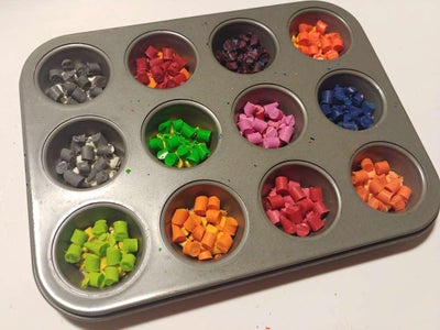 Place the Chopped Crayons in the Muffin Tin