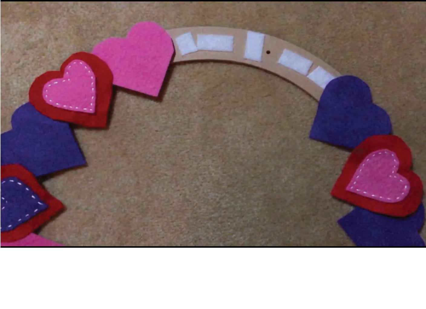 Place the Felt Hearts on the Wreath and Check the Design.