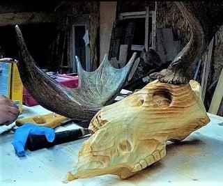 Wooden Moose Skull