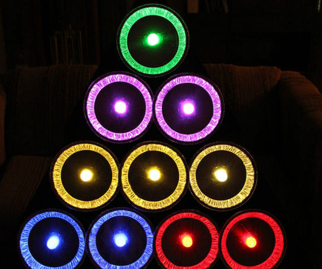 Pie Tin Christmas Tree with GE Color Effects LED Lights