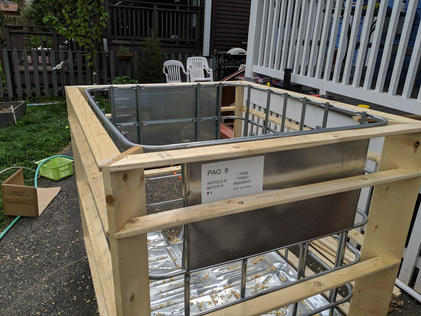 Cut Down the IBC Cage and Top Off the Framing