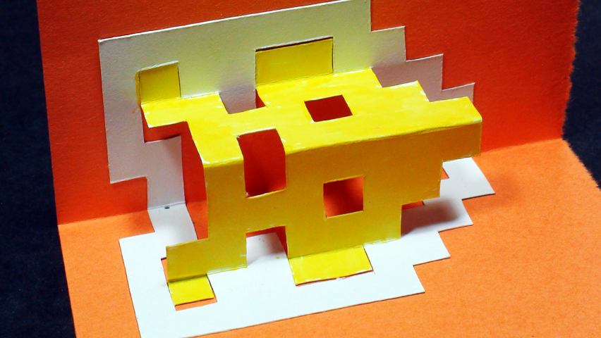 How to make an INVADER Pop Up Card (Kirigami 3D) Video Game Greetings - TCGames [HD]!