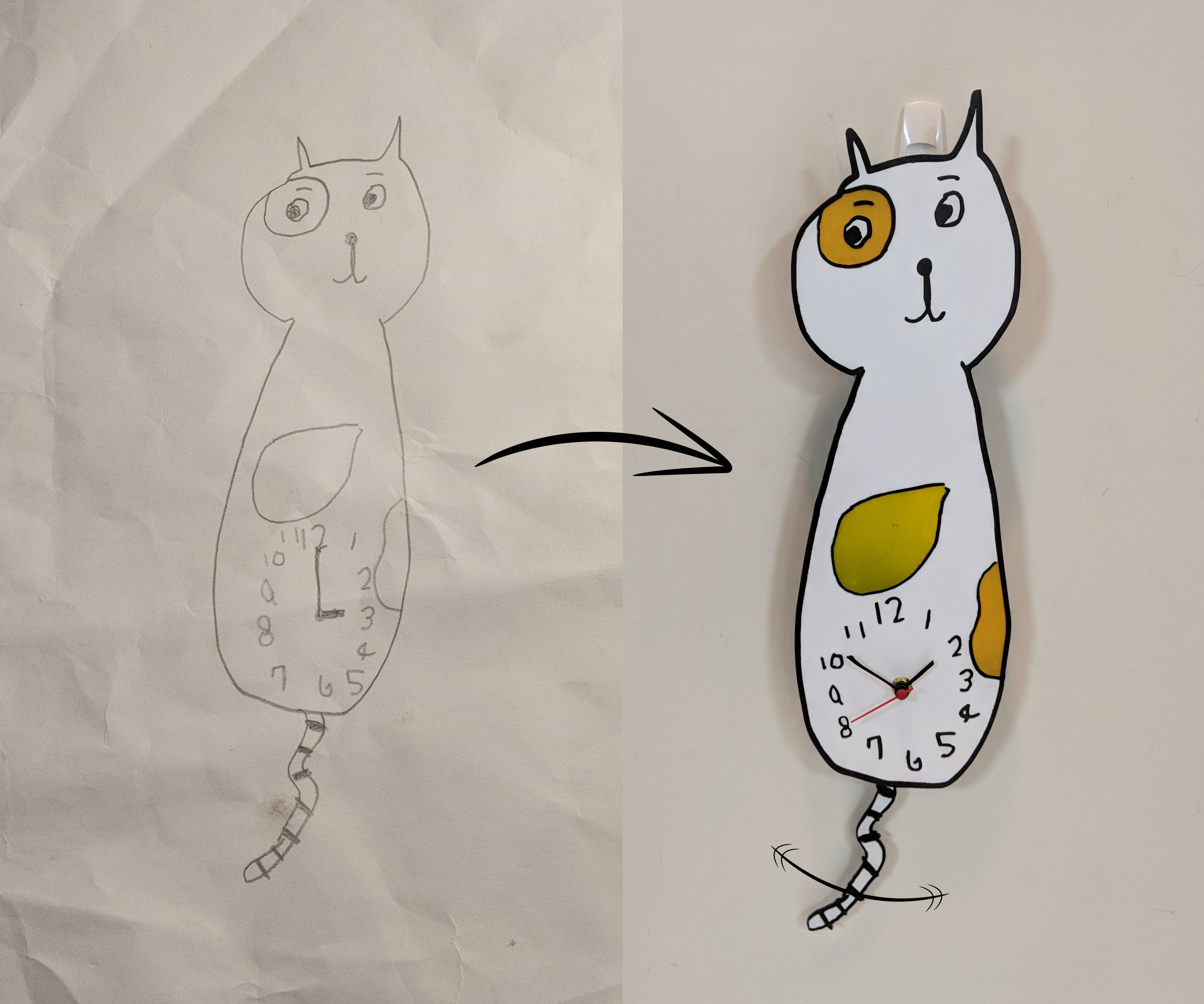 Turing Kid's Drawing Kitty Clock Into a Real Clock