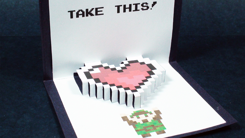 Zelda Pop Up Card: Heart Container (Kirigami 3D) Valentine's Day Greetings How To!