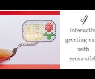 Interactive Greeting Card With Cross-stitch