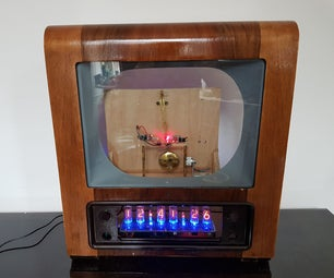 Electromagnetic Pendulum Laser Nixie Clock, With Thermometer