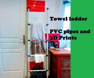 PVC Pipe and 3D-Printed Towel Ladder