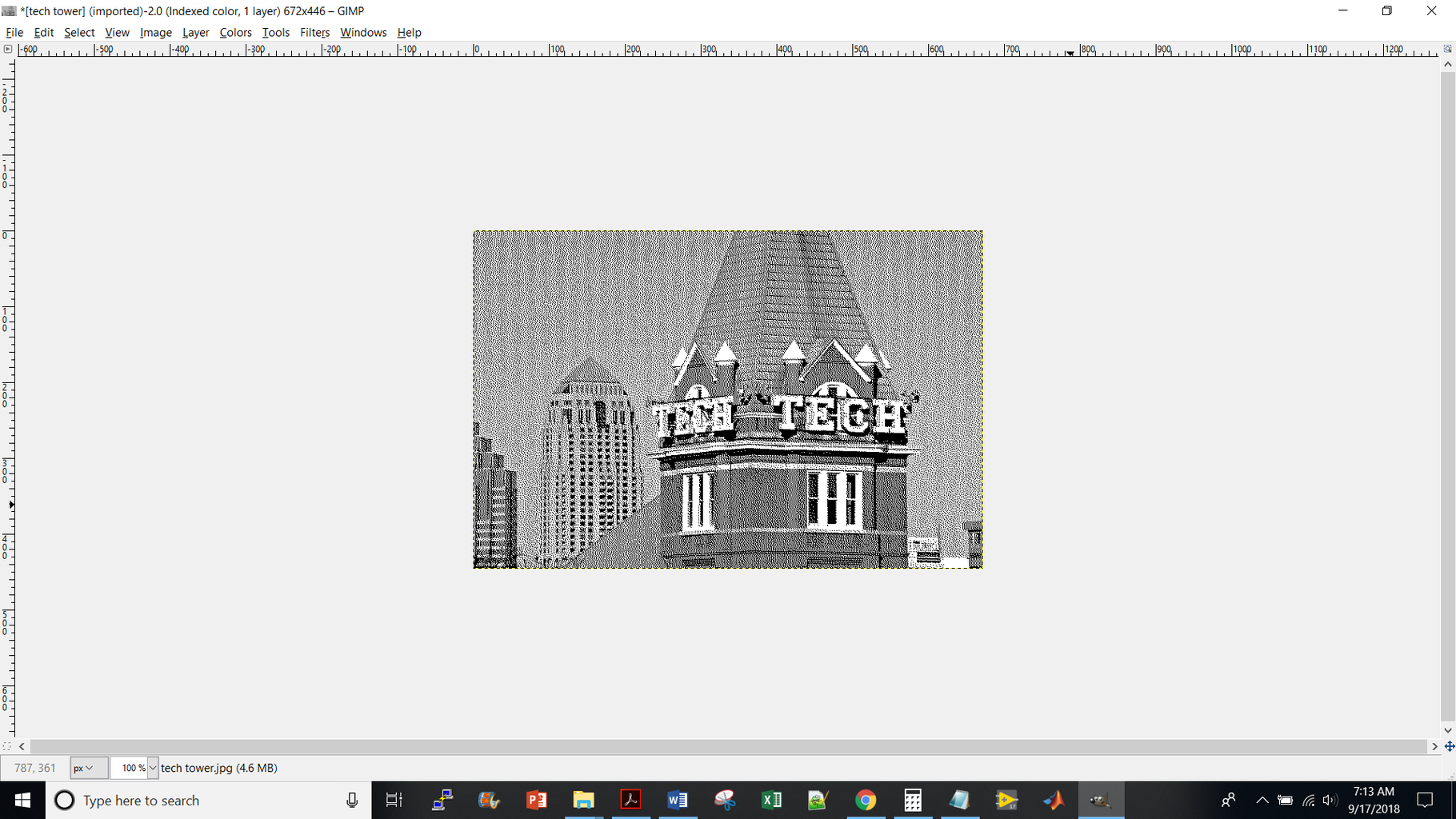 """Image --> Mode --> Indexed --> Then Check Off """"Use Black and White (1-bit) Palette"""" and in the Dithering Menu Choose """"Floyd-Steinburg (normal)"""""""