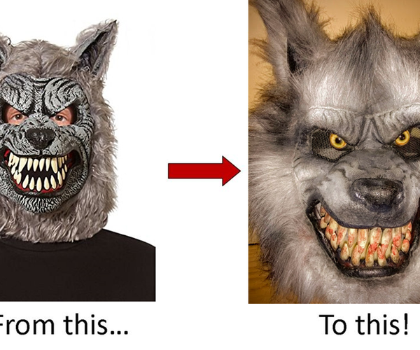 Halloween Project: Add Realism to a Store-Bought Werewolf Mask! {UPDATED!}