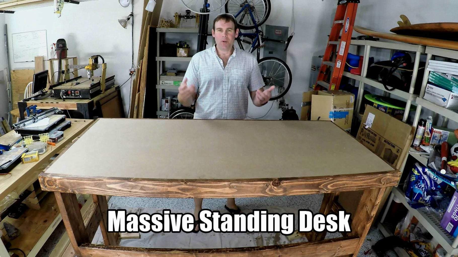 Massive Standing Desk With 2x4s and MDF Surface