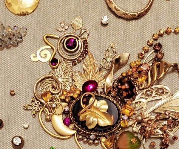 Upcycled Broken Jewelry Sculpture