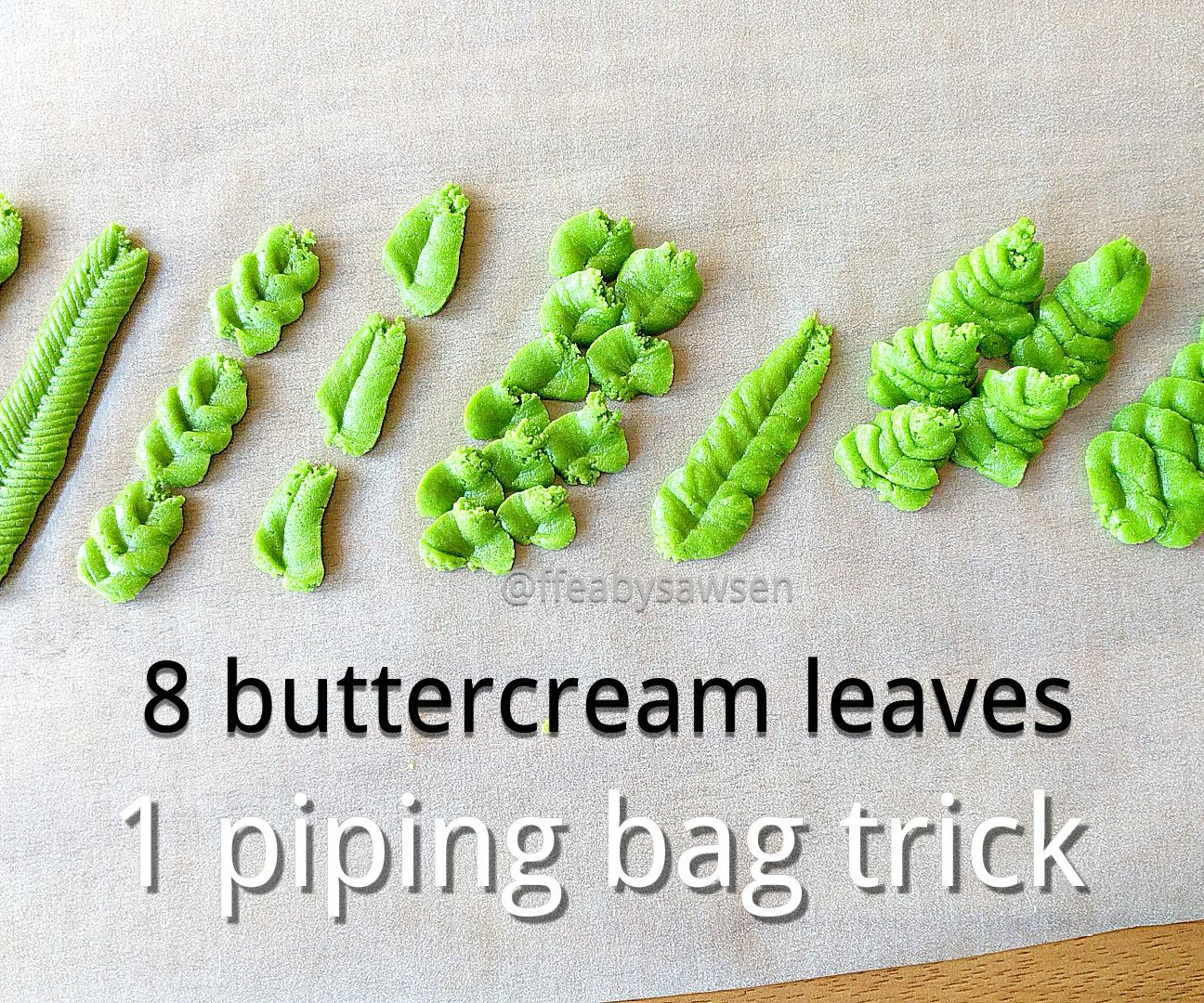 DIY leaf piping tip & 8 buttercream leaves