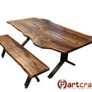Custom Live Edge Walnut Slab Dining Set With LEDs, Glass Inlay, and Custom Steel Legs