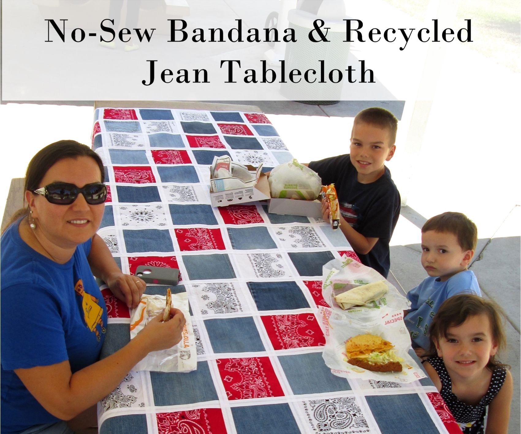 No-Sew Bandana & Recycled Jean Table Cloth