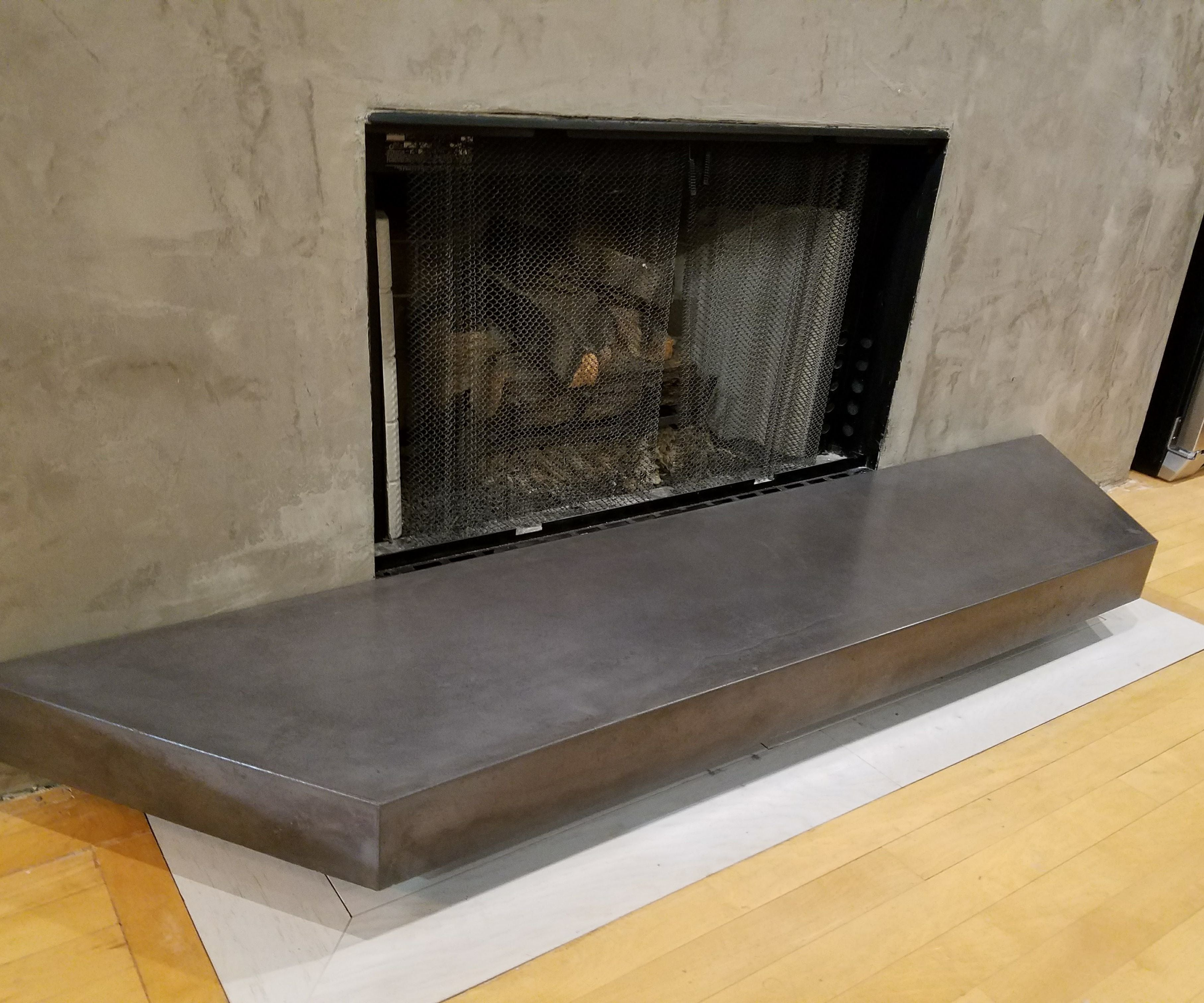GFRC Floating Concrete Hearth for Concrete & Wood Fireplace  20 ...