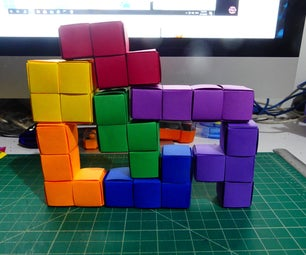 Rainbow Tetris Paper Sculpture