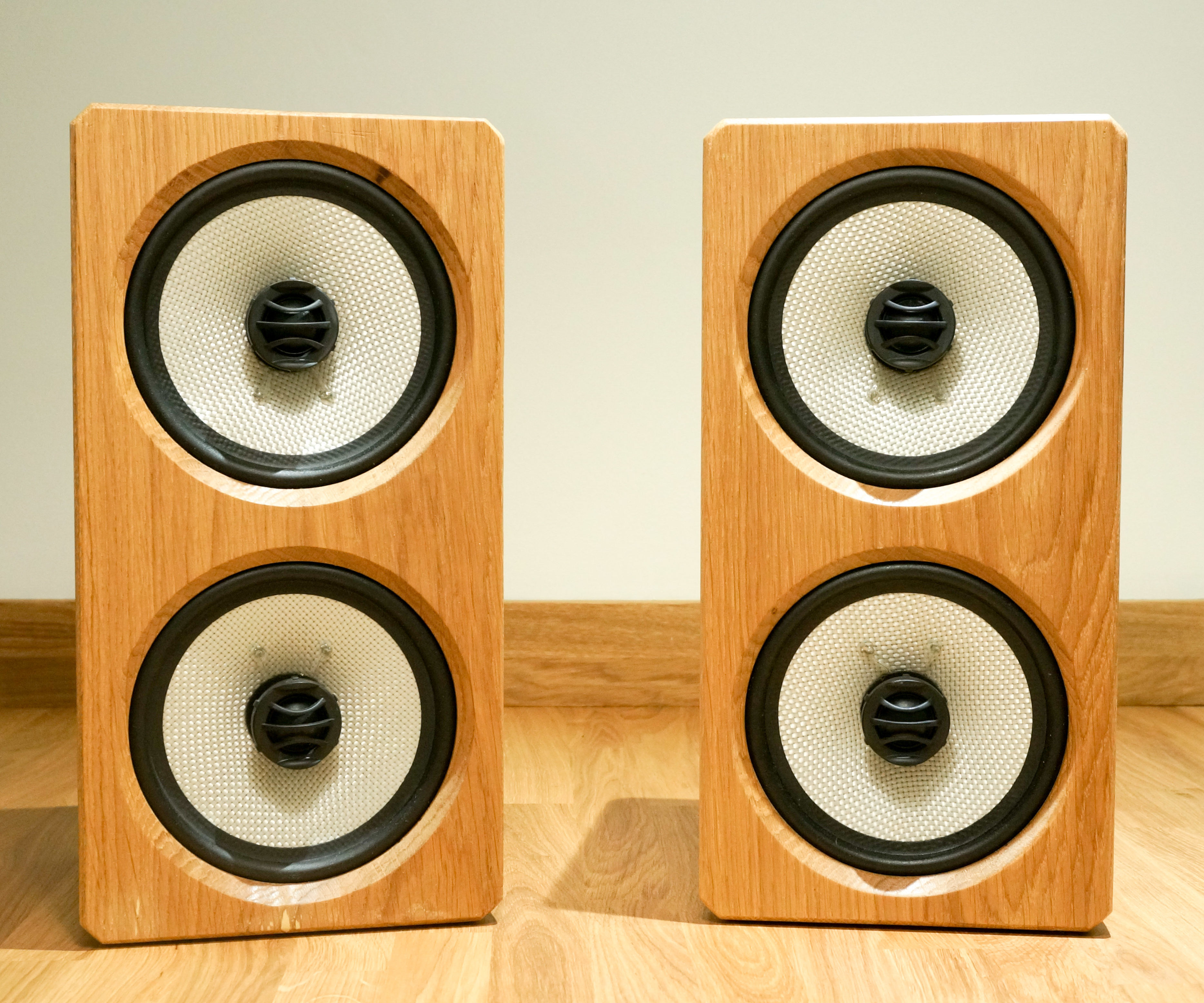 White Oak Faced Powerful Passive Speakers