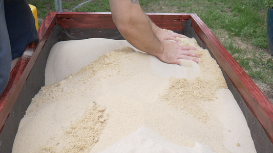 Install the Weed Blocking Fabric and Fill With Sand!