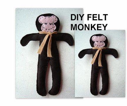 little felt monkey soft doll