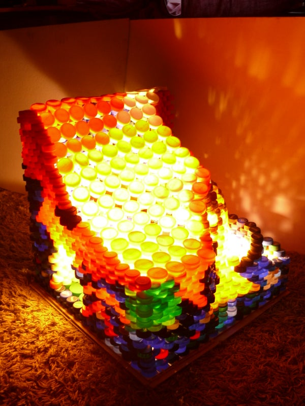 Lamp Made Out of 2177 Plastic Bottle Caps