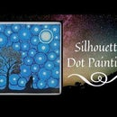 Simple Dot Painting Tutorial | Howling Wolf Silhouette Painting