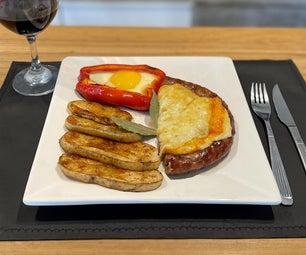 风车炒菜配普罗沃龙奶酪,配以乡村土豆和鸡蛋烤辣椒