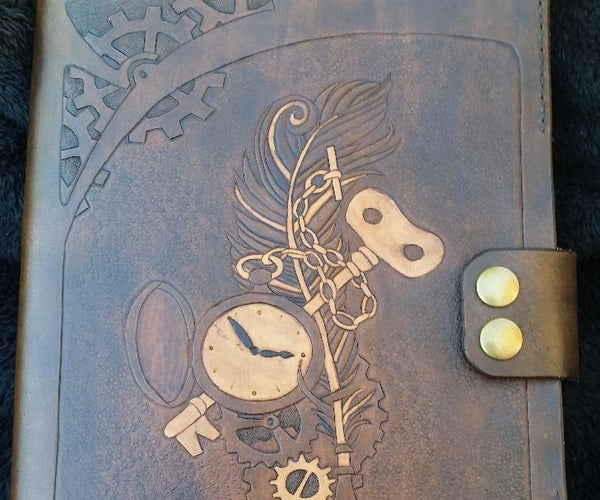 Steampunk Custom Carved Leather Notebook