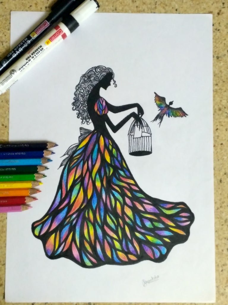 Finally Fill the Blank Space Using Pencil Colors.