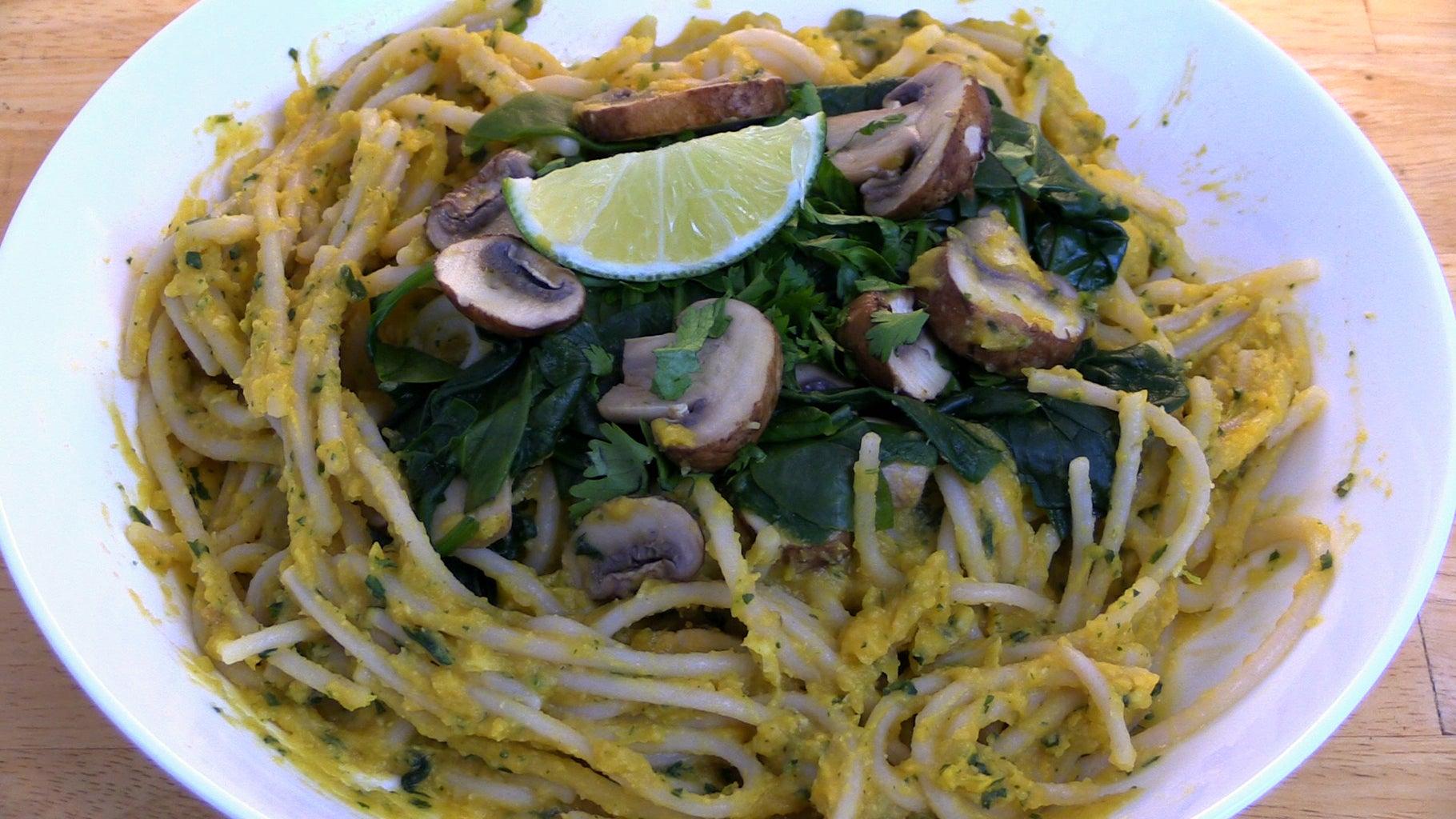 Thai Green Curry Pesto Spaghetti - Vegan & Gluten-Free