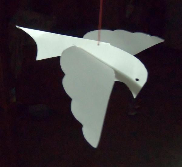 Paper dove, bird ornament