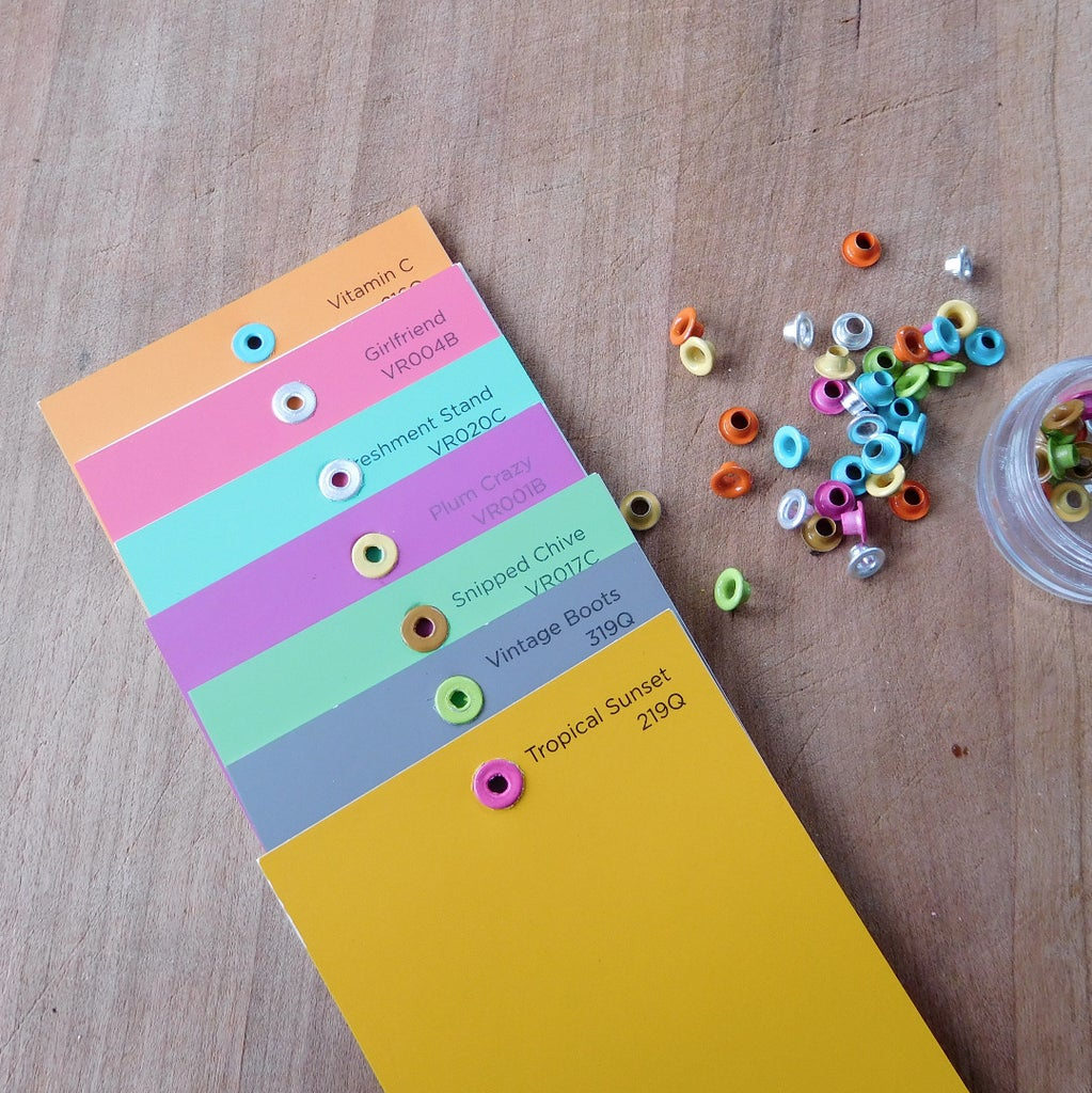 Set Eyelets in Paint Chips