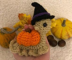 Crochet Halloween Pumpkin Snail