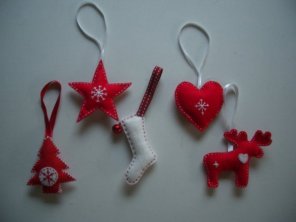 Scandinavian-style Felt Christmas Tree Decorations