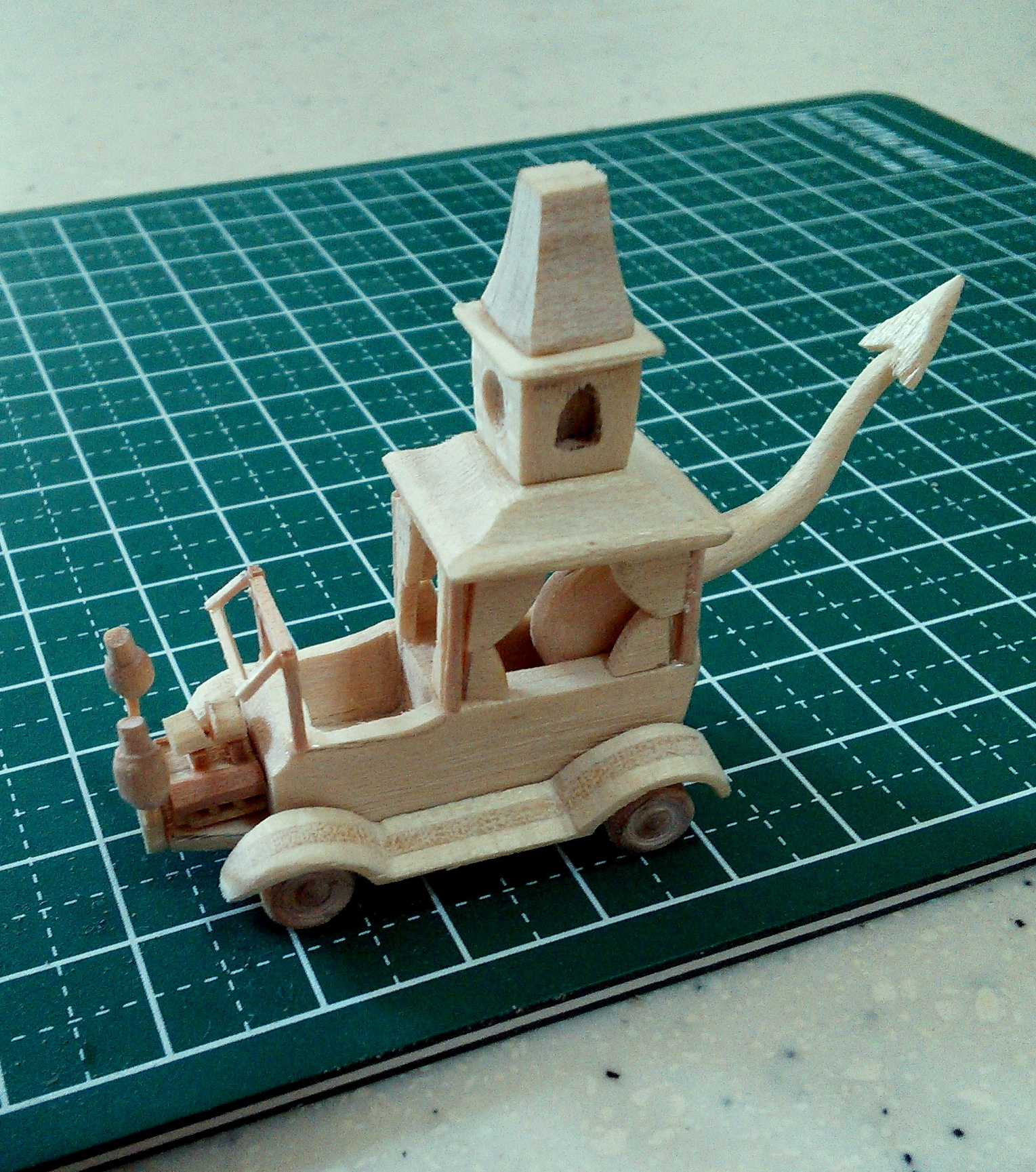 Mini Wacky Races No. 2 - Creepy Coupe Popsicle Stick Model