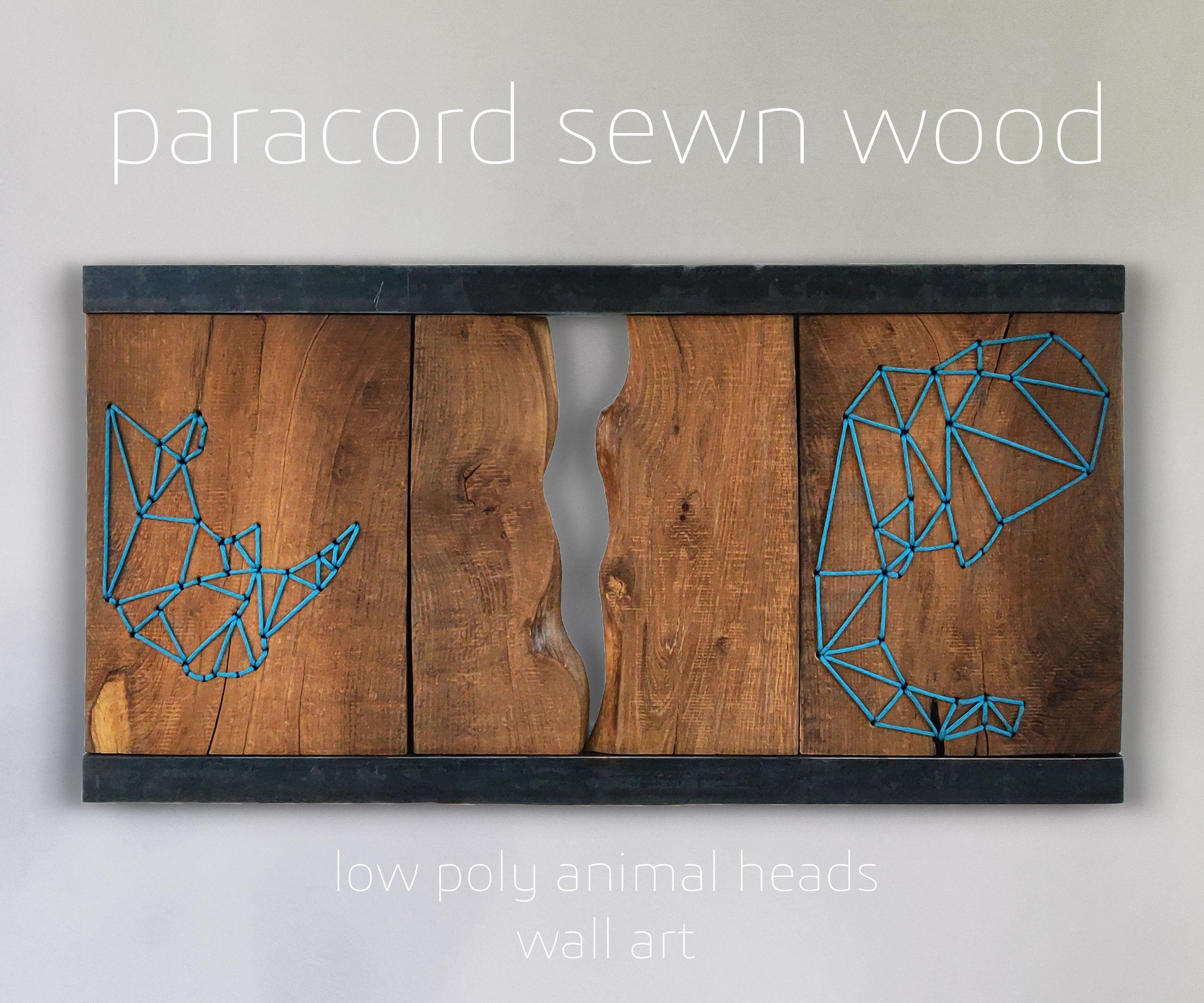 Paracord Sewn Wood - Wall Art