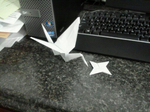 Single Sheet Origami Crane and throwing star