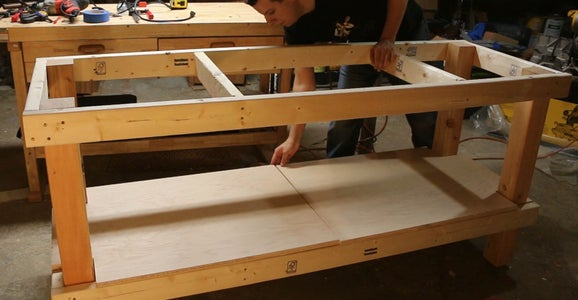 Cut Notches and Attach Shelf and the Table Top