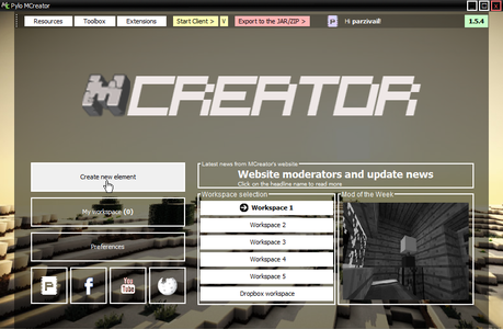"""Click on """"Create New Element"""""""