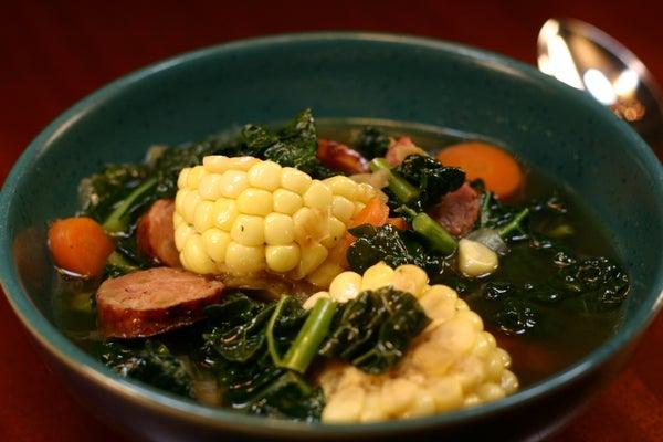 Corn, Carrot, Kale, and Sausage Soup