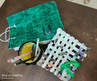"""Attractive Materials Made From Reusable(Plastic and Newspaper) Using """"Home Made GLUE"""" and TAPE"""