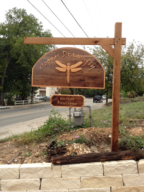 Outdoor Sign Made From Walnut and Cedar