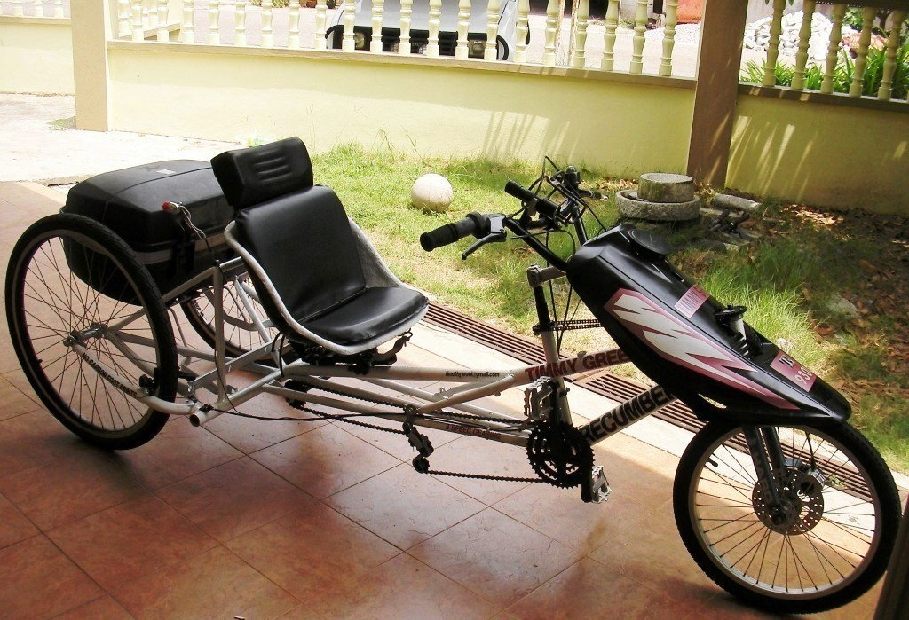Timmy Green, my homebuilt Delta Recumbent Trike.