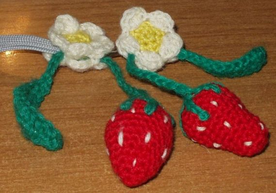 Crocheted Strawberry with sliding flower