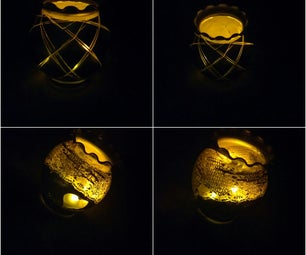 DIY Lace & String Printed Candle Holder