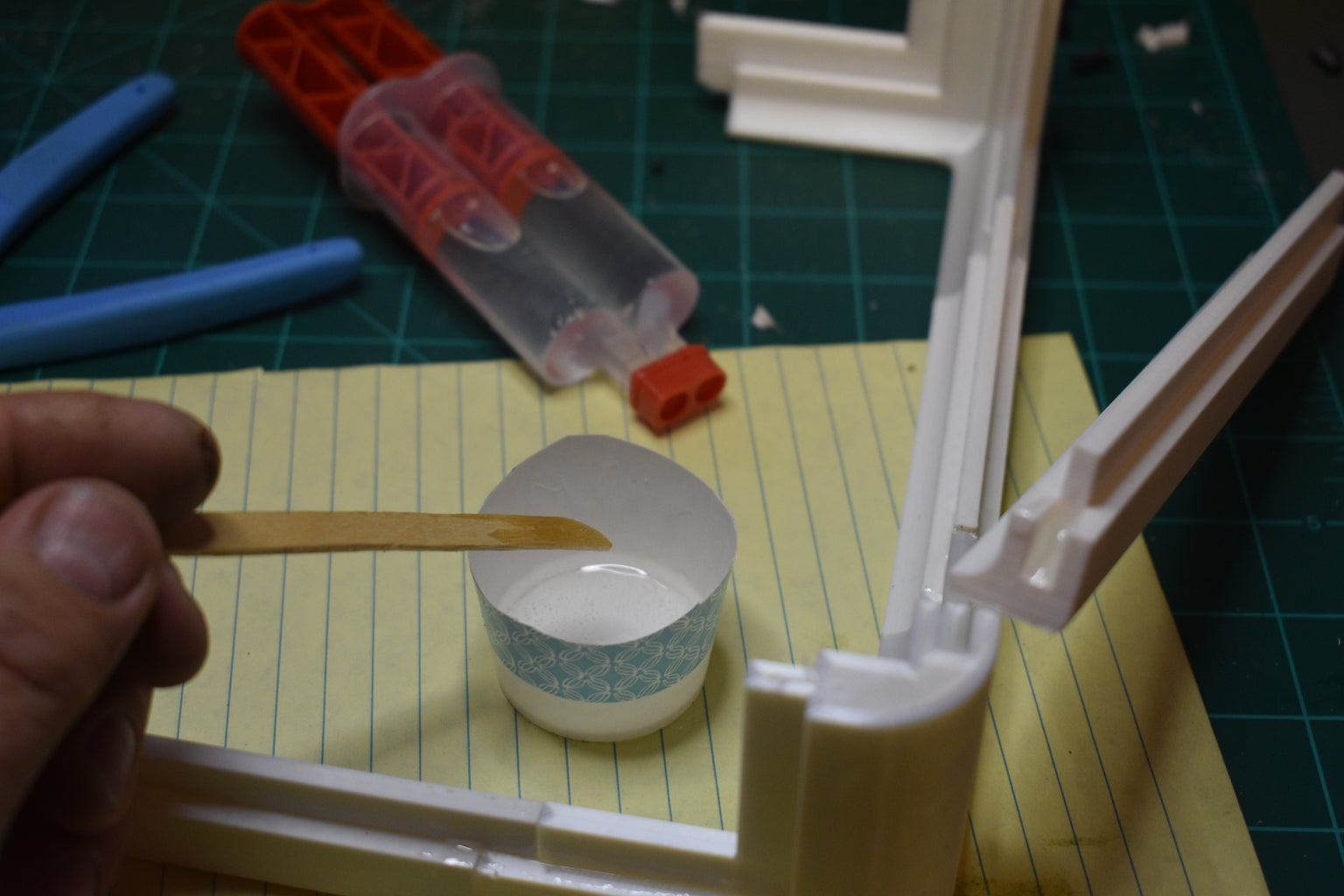 Mix Small Amount of Epoxy to Test and Glue a Few Pieces Together